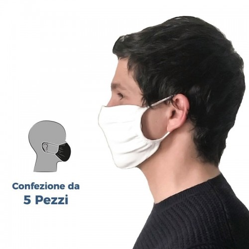 (Set da 5 Pezzi) - Mascherine in Tessuto WHITE Filtranti Protettive Lavabili