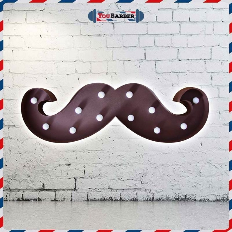 Moustache Light - Insegna Luminosa a Led da Barbiere