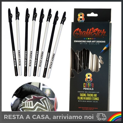 GraffEtch - 8 Matite Black/White per Hair Tattoo/Graffiti
