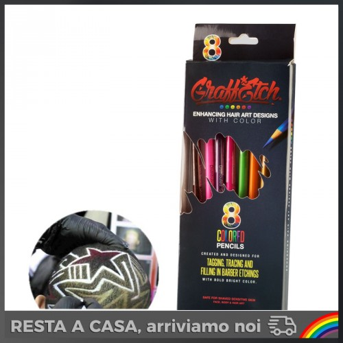 GraffEtch - 8 Matite Neon per Hair Tattoo/Graffiti
