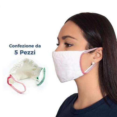(Set da 5 Pezzi) - Mascherine Filtranti Protettive Lavabili Riutilizzabili