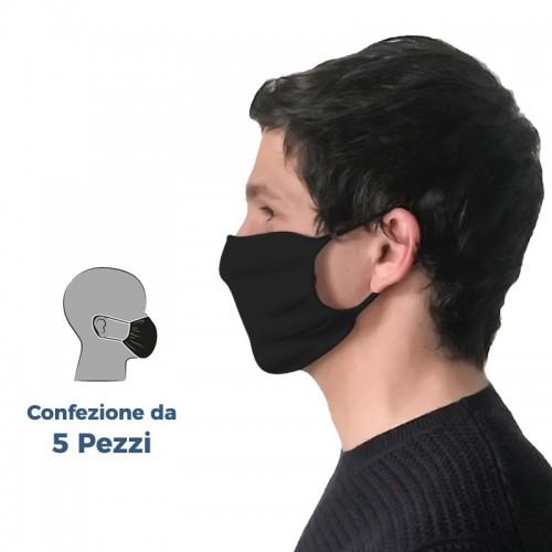 (Set da 5 Pezzi) - Mascherine in Tessuto BLACK Filtranti Protettive Lavabili