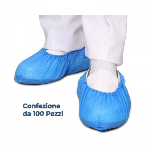 Copriscarpe Monouso Blu in Polietilene Cpe 100pz - ESENTE IVA